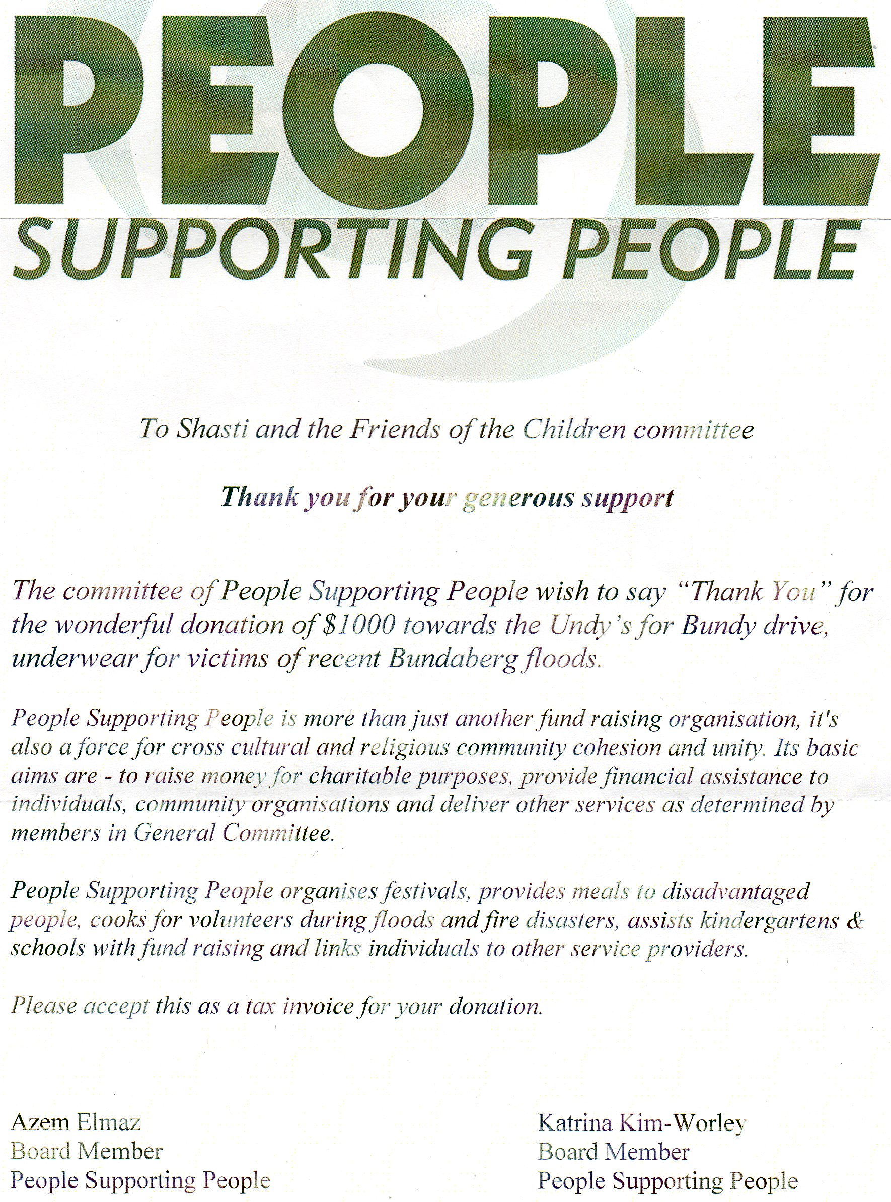 Thank You Letter From People Supporting People Friends Of The